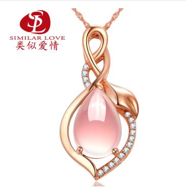 类似爱情 S925银芙蓉石饰品 粉晶项链 纯天然水晶吊坠 纯天然芙蓉石项链