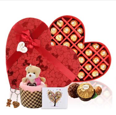 进口费列罗巧克力礼盒DIY心形27粒【代写贺卡】情人节礼物生日创意礼品