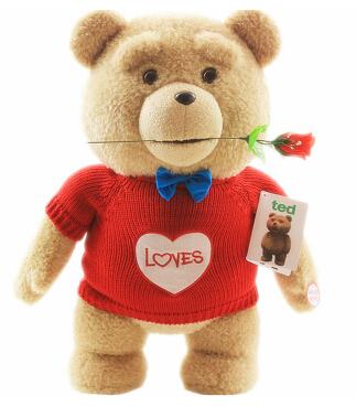 魔法龙美国电影会说话ted泰迪熊公仔抱枕布娃娃毛绒玩具抱抱熊玩偶生日礼物女生 无声版 60厘米