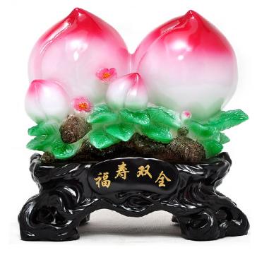 酷宝礼坊 福寿双全 寿桃摆件老人生日礼物过寿做寿祝寿礼品寿礼装饰品墨玉色墨玉色