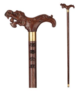 小雕匠正品拐棍老年红木雕刻凤龙头拐杖 黑鸡翅木 老人实木木质手杖助行祝寿 黑鸡翅龙头拐杖