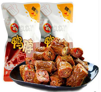 武汉特产 久久丫甜辣/微辣鸭脖子 小吃美食独立小包装 称重250g